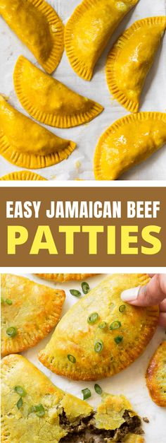 Thin, flaky and buttery yellow crust with a highly seasoned beef filling. Make a big batch because these Jamaican beef patties will disappear fast! Popular on Pinterest! #jamaicanbeefpatties #beepatties #jamaicanrecipes Jamaican Dishes, Jamaican Recipes, Beef Recipes, Cooking Recipes, Jamaican Beef Patties, Jamaican Patty, Easy Bbq Chicken, Patties Recipe
