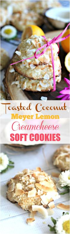 Meyer Lemon Cheesecake Coconut Cookies with White Chocolate Chunks - Peas and Peonies