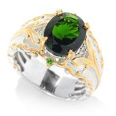 139-594 - Gems en Vogue 2.66ctw Chrome Diopside & Diamond Band Ring