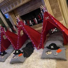 """The Pirate Party or Pirate Slumber Party Set will create an atmosphere that will erupt into joyous laughter, as little ones (or not so little ones) """"Batten down the hatches"""", and """"Shiver me timbers"""", as the spirited fun begins. Pirate Party Favors, Pirate Theme, Pirate Hook, Kids Teepee Tent, Party Giveaways, Party And Play, Glitter Canvas, Jolly Roger, Skull And Crossbones"""