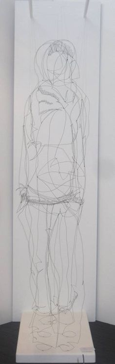 """My family line (mom, me, child)... 3 people, wire figures in a row, viewed from front as one person (Rhian Stone, """"Chavvy Chic"""" continuous line figures)"""