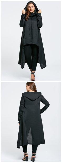 Plus Size Funnel Collar Maxi Asymmetric Hoodie - Black 8xl