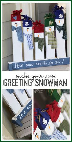 CHRISTMAS: make your own Greeting snowman porch decor - Sugar Bee Crafts Snowman Christmas Decorations, Christmas Porch, Snowman Crafts, Outdoor Christmas, Christmas Snowman, Christmas Projects, Winter Christmas, Holiday Crafts, Christmas Ornaments