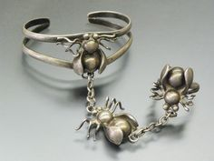 Vintage Mexican silver bracelet with attached ring. And flies!