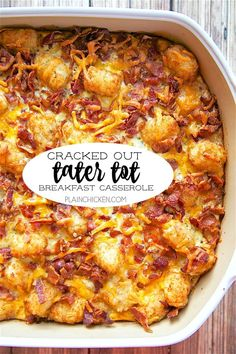 Cracked Out Tater Tot Breakfast Casserole great make ahead recipe Only 6 ingredients Bacon cheddar cheese tater tots eggs milk Ranch mix Can refrigerate or freeze for la. Tater Tot Breakfast Casserole, Breakfast Dishes, Breakfast Time, Chicken Breakfast, Crockpot Breakfast Casserole Overnight, Breakfast Tailgate Food, Breakfast Ideas With Eggs, Christmas Breakfast Casserole, Christmas Morning Breakfast