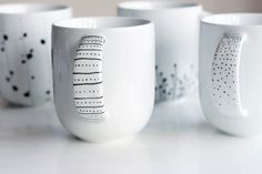 How to Decorate a Coffee Mug Using a Porcelain Marker | http://www.designrulz.com/ideas/2013/05/how-to-decorate-a-coffee-mug-using-a-porcelain-marker/ - Don't forget the handle!