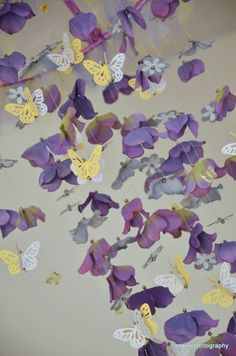 Butterfly mobile Lavender Yellow Gray and Purple  by Sastara, $44.00
