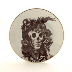 Sugar Skull Venice Mask Plate Altered Vintage Porcelain Day