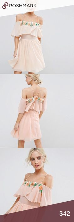 ASOS PETITE embellished dress ASOS PETITE embellished neckline double-layer skater dress. Like new condition. Only worn once! Nude/Pink color. ASOS Petite Dresses Mini