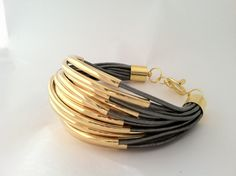 Metallic Grey Leather Cuff Bracelet with Gold or by Leatherwraps, $85.00
