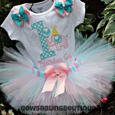 ON SALE First Birthday Outfit Elephant Birthday Tutu and Embroidered shirt Custom Girl Tutu Pink Personalized Birthday Set via Etsy 1st Birthday Tutu, First Birthday Outfits, Baby First Birthday, First Birthday Parties, Girl Birthday, Birthday Ideas, Elephant Party, Elephant Birthday, Circus 1st Birthdays