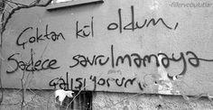 Sadece savrulmamaya çalışıyorumm Street Graffiti, Street Art, Motto, Karma, Motivation, Sayings, My Love, Words, Quotes