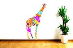 Nursery Decal Colorful Giraffe Wall Decal Tall Giraffe by Popitay, $58.00