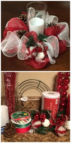 [DIY - Deco Mesh Christmas Centerpiece] Learn how to make one at decowreaths Dollar Tree Christmas, Christmas Mesh Wreaths, Christmas Ornaments, Winter Wreaths, Spring Wreaths, Summer Wreath, Burlap Christmas, Christmas Christmas, Country Christmas
