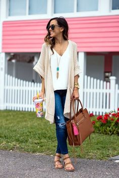 Love the amount of distressing on the jeans, love the sweater cardigan (but it might fit a little too long on me?), and cute necklace!