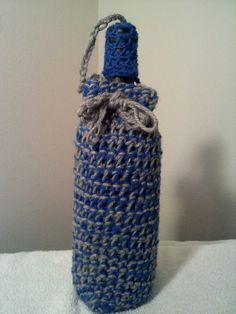 Crocheted blue and gray wine bottle cozy by steveross4 on etsy, $8.00
