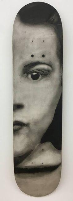 ROUX FABIENNE ( Française) ROUX FABIENNE ( Française)  Sans titre, 2016  Huile sur skateboard signé  Oil on skate deck signed  80 x 20 cm - 31.5 x 7.8 in     - Digard Auction - 25/10/2016