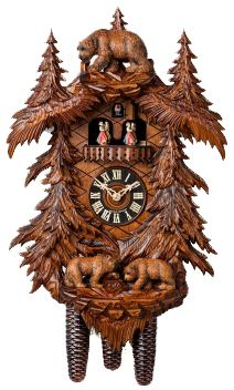 Cuckoo Clock Three Bears in Forest by Hönes The cuckoo calls every half hour once and the number of the hours every full hour. This cuckoo clock has an exclusiv Clocks For Sale, Cool Clocks, Coo Coo Clock, Black Forest Germany, Black Forest Wood, Boutique Deco, Antique Clocks, Rustic Clocks, Grandfather Clock