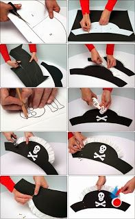 DIY Tutorial DIY Halloween / 4 easy DIY Halloween hat crafts for kids to complete their costume - Bead&Cord Deco Pirate, Pirate Day, Pirate Birthday, Pirate Theme, Birthday Diy, Birthday Parties, Pirate Hat Crafts, Pirate Costume Kids, Pirate Hats For Kids
