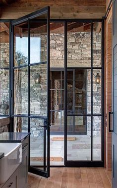 Add architectural interest: French door styles and ideas in the . - Add Architectural Interest: French Door Styles and Ideas in … Add Architectural Interest: French - Crittall, Pivot Doors, Entry Doors, Front Doors, Wood Doors, Front Entry, Front Porch, Wood Glass Door, Fireplace Glass Doors