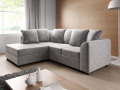 Rohová sedačka DYLAN levá Provedení: levé Zadní část sedačky je potažená látkou, je tedy možné postavit sedačku kdekoliv v prostoru. Potahová látka: Glitz Ice = světle šedá látka Rozměry (šxhxv): 213 x 165 x 63 … Sofa, Couch, Furniture, Home Decor, Settee, Settee, Decoration Home, Room Decor, Home Furnishings