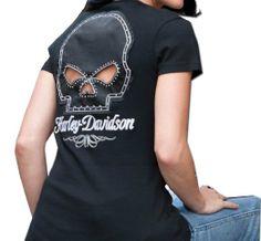 Amazon.com: Harley-Davidson Womens Willie G Skull and Chain Passion Black Short Sleeve T-Shirt: Clothing