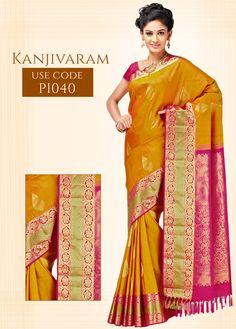 Rust Kanjivaram Pure Silk Saree, with Golden Zari Brocade Border and Magenta Colored Pallu. To Buy This Saree,  Just Click Here:goo.gl/X2DWg0 #IndianSilkHouseAgencies #AllSilks #KanjivaramSaree