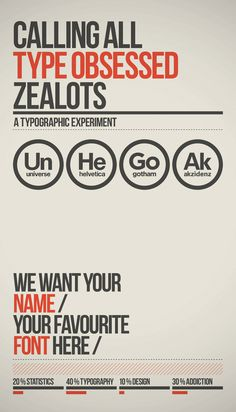 A typographic experiment - Favourite Sans Serif Typefaces. From: http://www.behance.net/gallery/A-Grotesk-Love-Affair/1339317