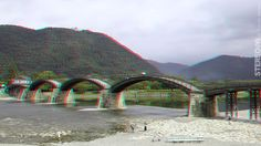 HYPERSTEREO - Kintai-bride (3D - anaglyph) View Photos, Red And Blue, 3d, Bride, Mountains, Photography, Travel, Wedding Bride, Photograph