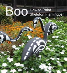 How to paint skeleton flamingos. Tutorial here: http://community.homedepot.com/t5/Other-Holidays/Halloween-Skeleton-Flamingo/td-p/68037#.UmW0YlDryZA