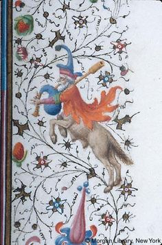 Book of Hours, MS M.358 fol. 23r - France, Provence, ca. 1440-1450 - In right margin, centaur, leaping, plays bagpipe (similar reversed image on verso)