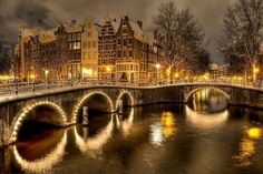 Winter's night in Amsterdam, The Netherlands. Re-pinned by #Europass