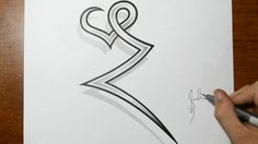 Drawing the Letter Z combined with a Heart - Tattoo Ideas