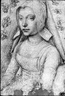 drawing by Gerard David. This very clearly shows the placart pinned, as opposed to other examples where it is inset. Showing two of the three different under-dress styles that were obviously being used during this period. I would like to know more a out this drawing.