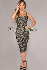 Black Gold Accent Nude Illusion Midi Dress
