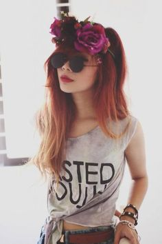 Wasted youth tshirt, floral headband and awesome sunglasses.  Love this look x