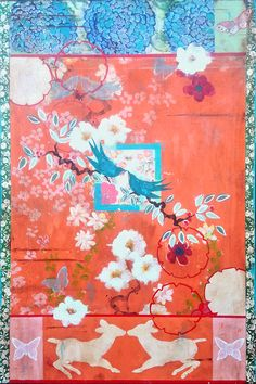 """Welcoming Spring/Love Notes"" inches Acrylic and Laquer on Panel Kathe Fraga Adult Art Classes, French Wallpaper, Chinoiserie Wallpaper, Unicorns And Mermaids, Art For Art Sake, Japanese Prints, Collage, Mail Art, Ancient Art"