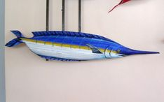 Blue Marlin Sport Fish Carved from Queen Palm Seed by roseartworks