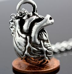 Little Silver Anatomical Heart Necklace by billyblue22 on Etsy, $36.00