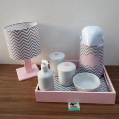 Chevron Collection Hygiene Kit with Coordinate Lamp - Gray & Pink Cloud Theme - . Baby Bedroom, Nursery Room, Girls Bedroom, Small Lamp Shades, Baby Corner, Baby Room Colors, I Love House, Baby Room Design, Baby Swings
