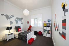 Lego land from little liberty...what a great idea for my boys room!  Love the Red, Grey, Black, and White