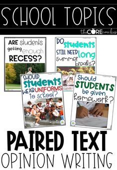 These paired text are perfect for the beginning of the school year. Your students will be excited to write about these school themed topics.