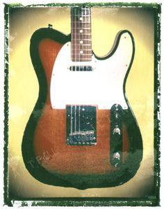 Guitar art, guitar print, Fender Telecaster sunburst  $25.00 http://www.guitarartprint.com