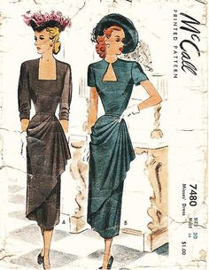 Vintage Dress Sewing Pattern - McCall 7480 - Misses' Fitted Dress with Side-Drape - Sz Evening Dress Patterns, Dress Making Patterns, Vintage Dress Patterns, Clothing Patterns, Evening Dresses, 1940s Dresses, Vintage Dresses, Vintage Outfits, 1940s Fashion
