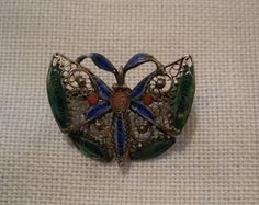 Antique 800 Silver & Enamel Filigree by NorthShoreAntiques on Etsy, $39.99