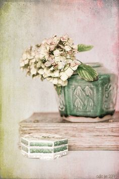 faded hydrangea in a ginger jar by odilelm on Flickr.