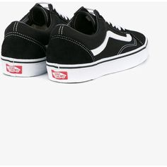 Vans Vans Old Skool Low-Top Trainers (£46) ❤ liked on Polyvore featuring shoes, sneakers, vans sneakers, black sneakers, black leather sneakers, genuine leather shoes and low profile sneakers