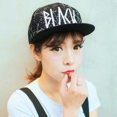 Hip hop baseball cap for girls wear black flat brim caps