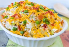 Loaded Baked Potato Salad | Sassy Girlz Blog Everything you love about loaded baked potatoes but in a nice cold salad for Summer! cheesy goodness! And BACON! Lots of BACON too! Great for BBQ & Potlucks. Sunday Supper anyone?