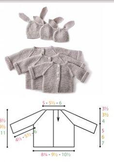 6 Ferri n 4 Taglie: neonato-3-6/12 mesi Misure: circ del busto :22 cm(25-27) Manica:12cm(14-15) Lunghezza totale:22cm(25-27,5) Si lavora tutto assieme cominciando dal collo Abbreviazioni M1: aument…